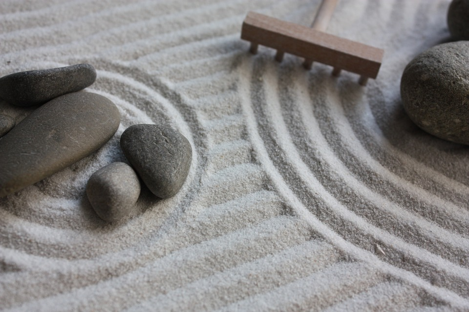 garden, zen, sand