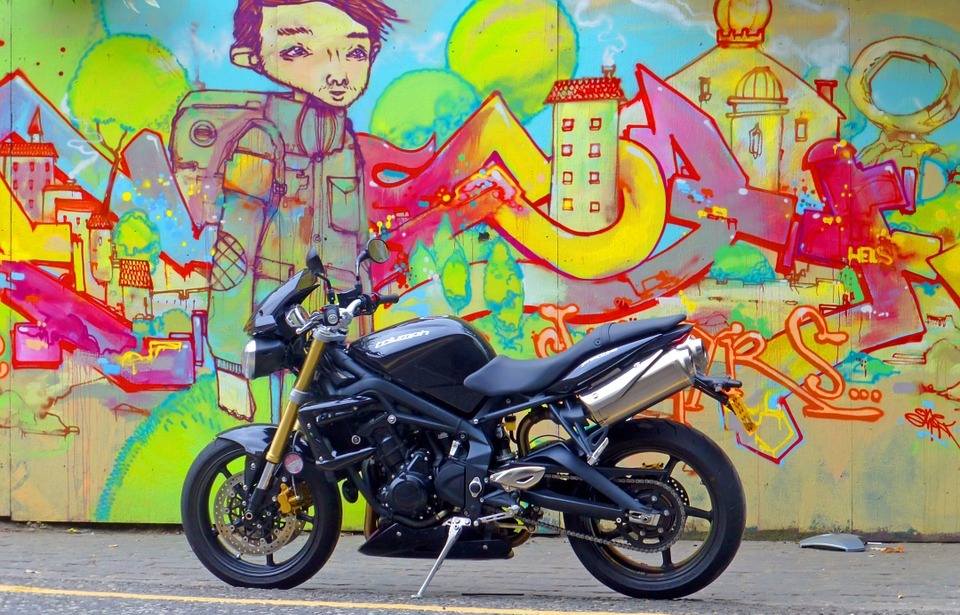 motorcycle, streetbike, black