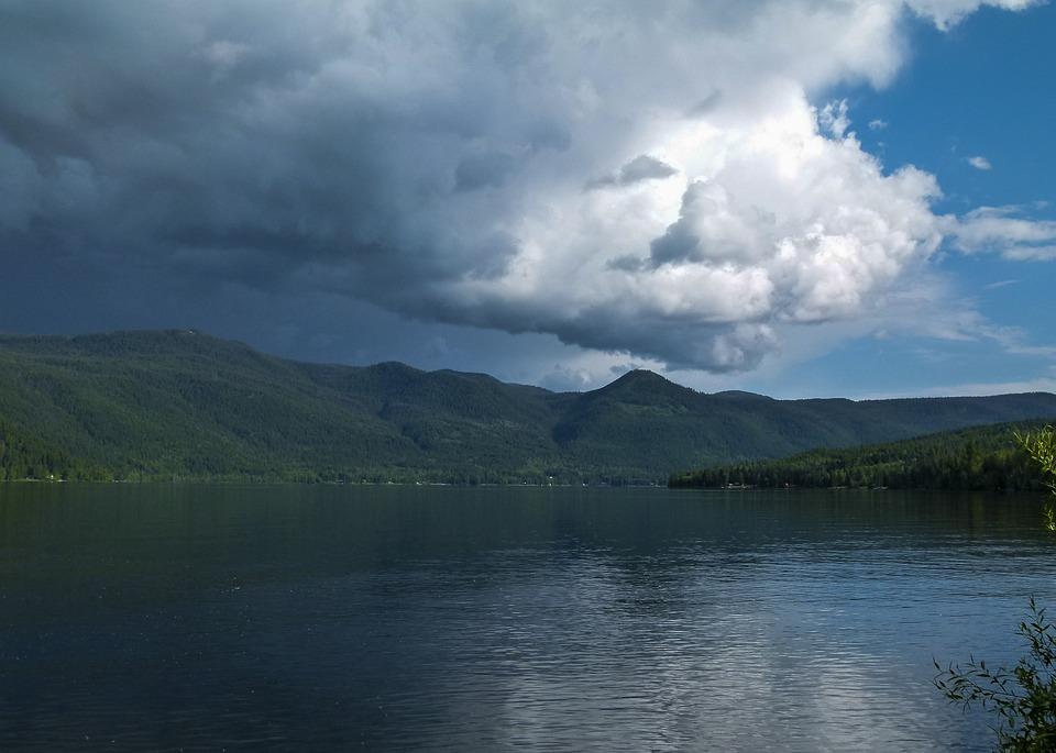 thunderstorm, weather, canim lake