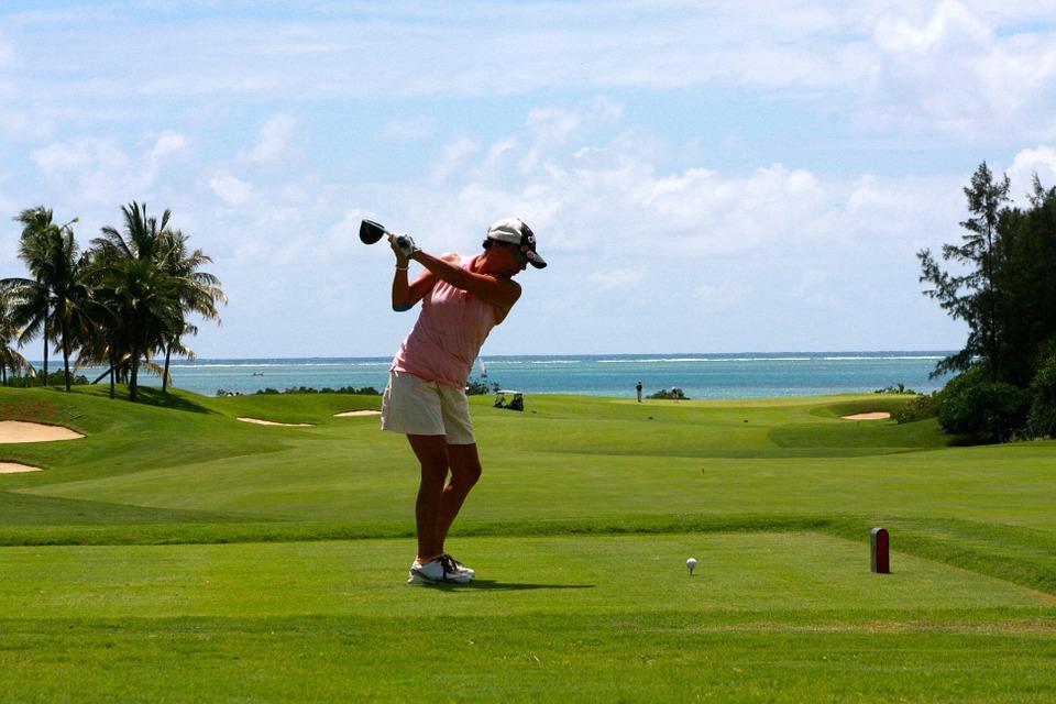 golf, woman, tee