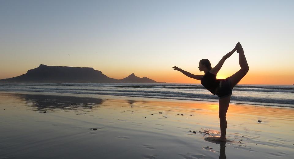 yoga, girl, beach