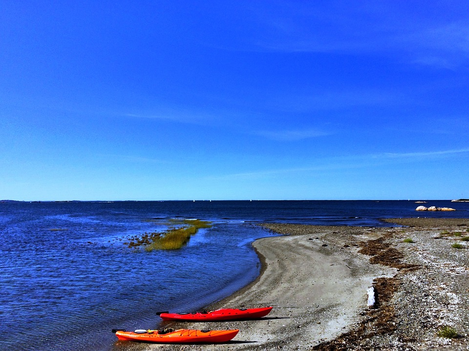 kayaks, beach, cohasset