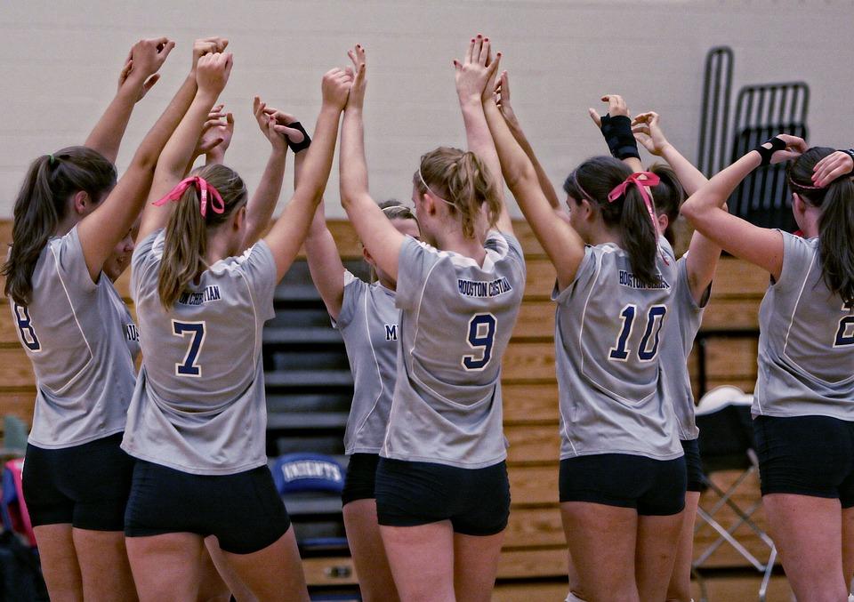 volleyball team, girls, players