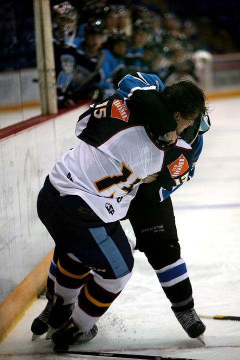 hockey, fight, ice rink