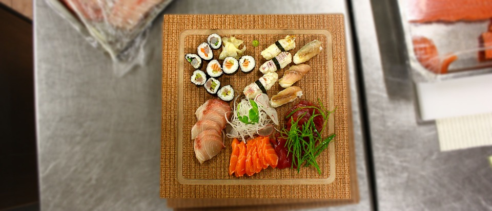 sushi, sashimi, dish