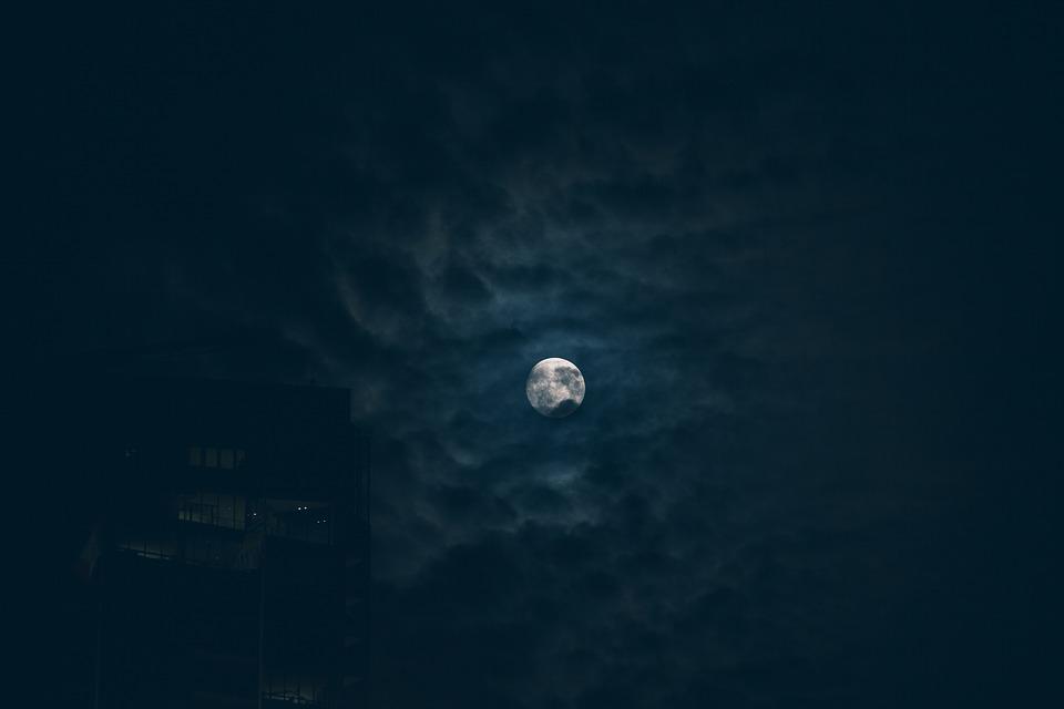 moon, night, sky
