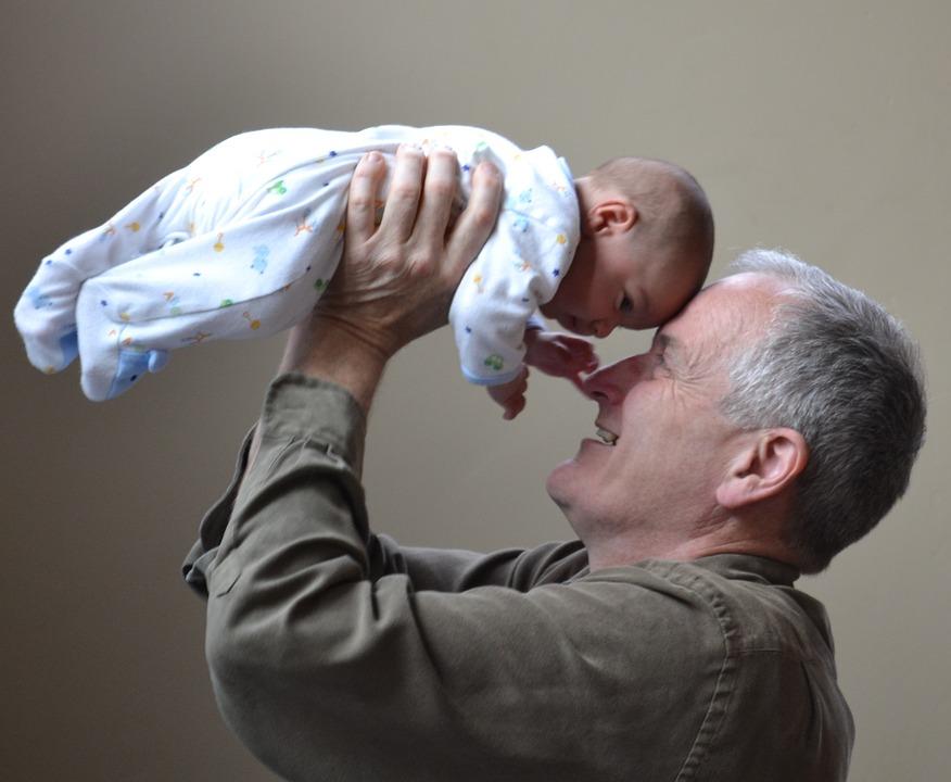 grandfather, grandpa, baby