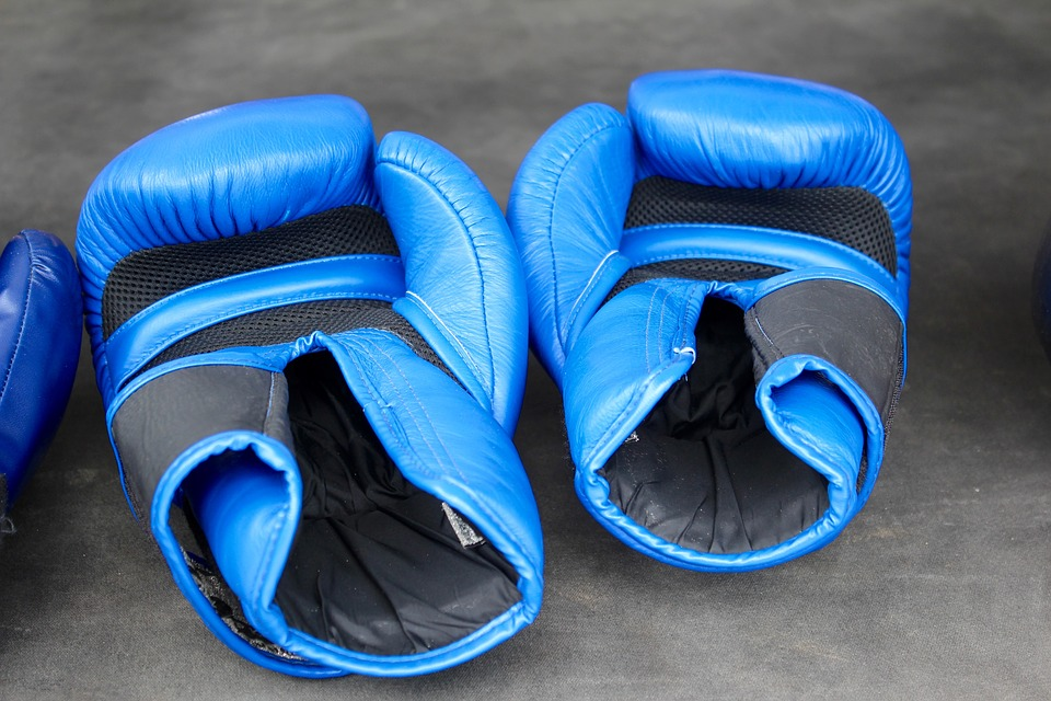 box, gloves, blue