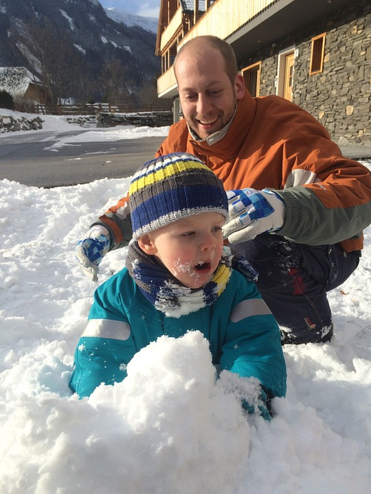 child, father, snow