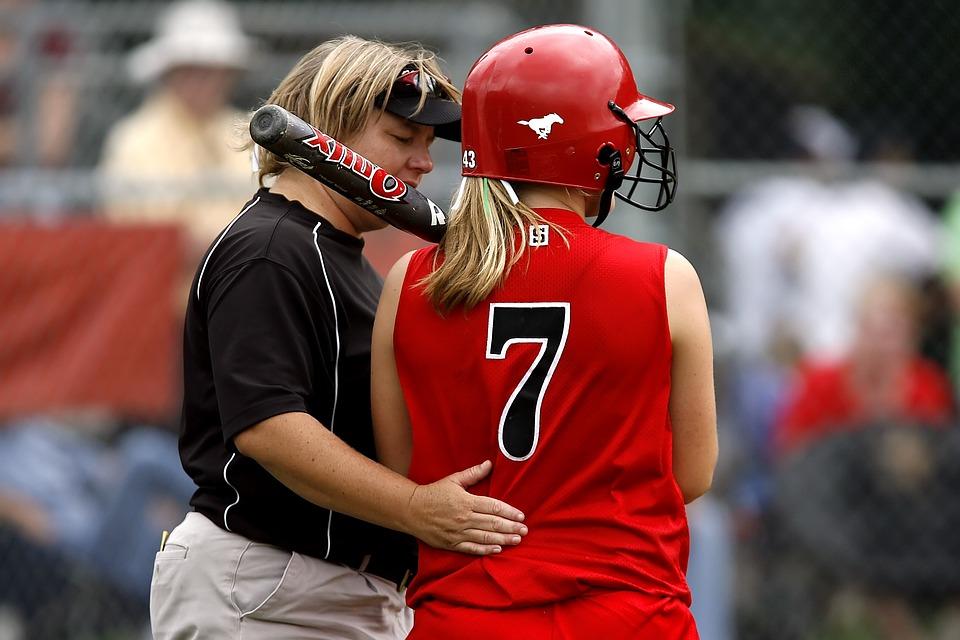 softball, player, coach