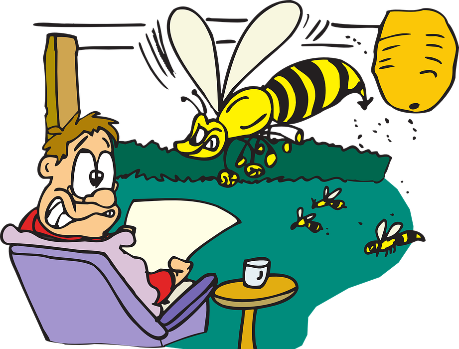man, scared, bees