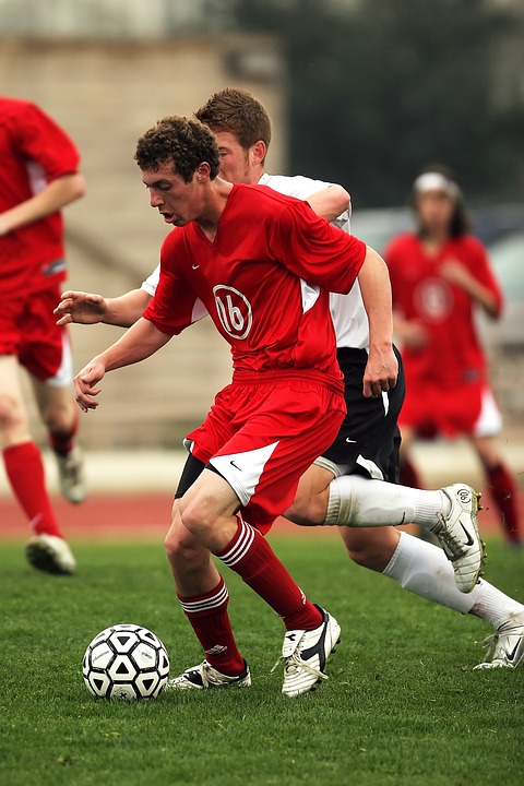soccer, kicking, action