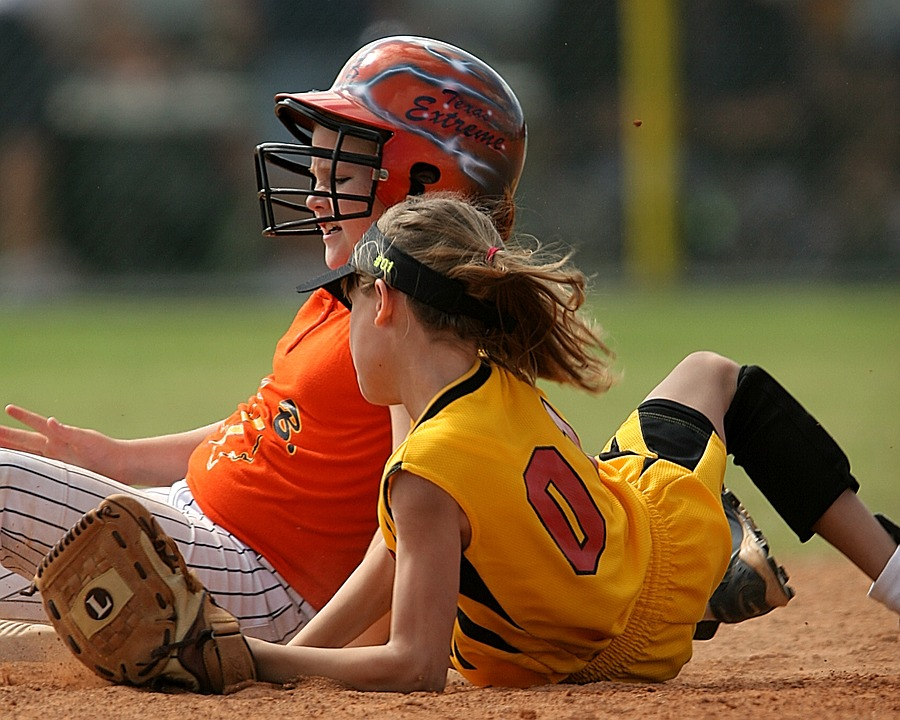 softball, players, action