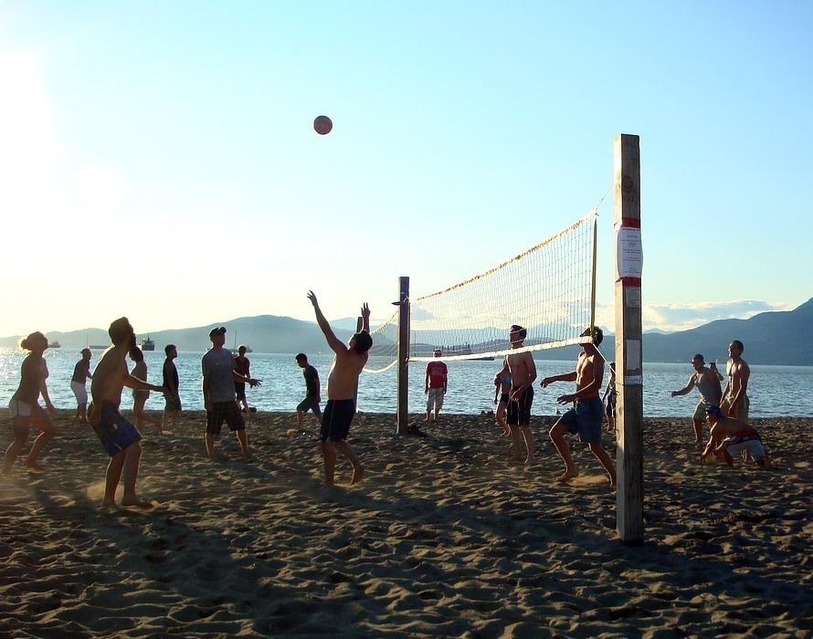 beach volleyball, ball, summer