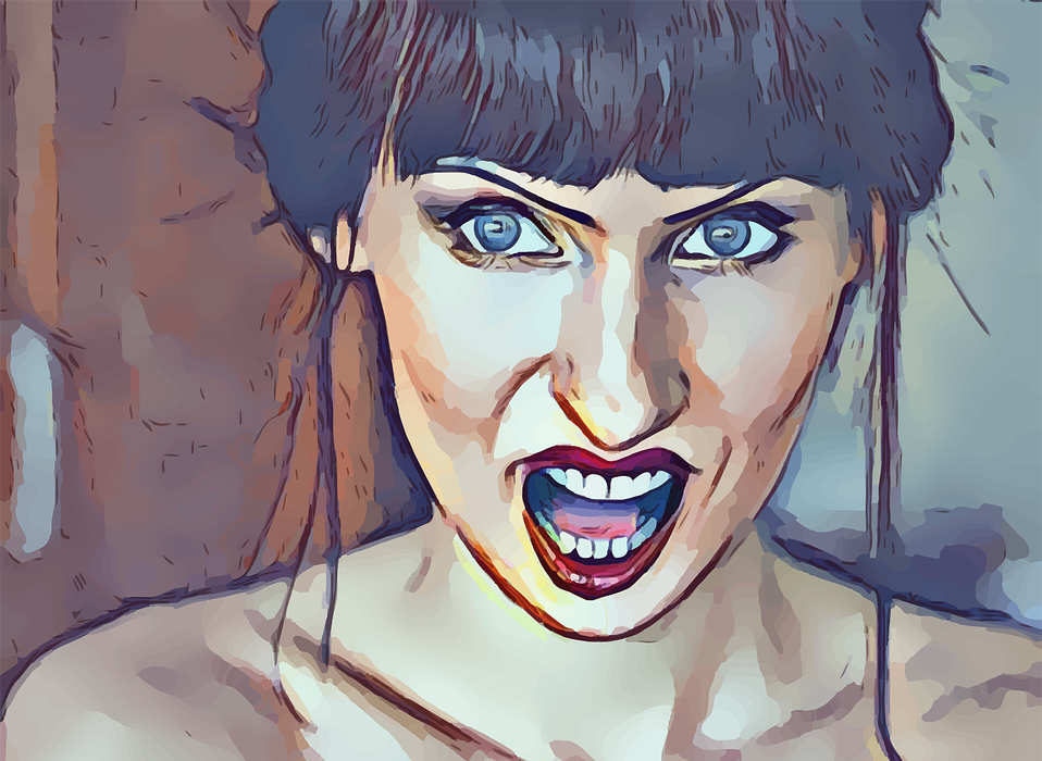 angry, woman, mouth