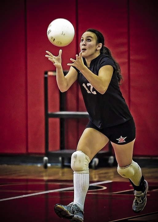 volleyball, serving, girl