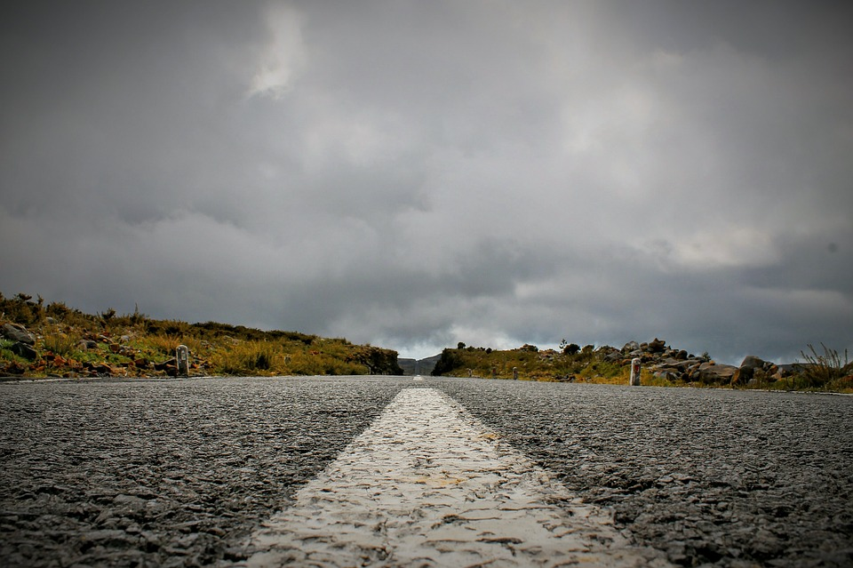 road, cloudy, without end