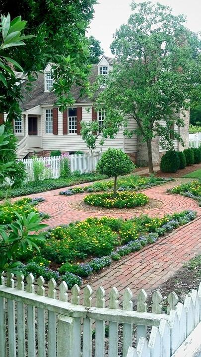 colonial, garden, walkway
