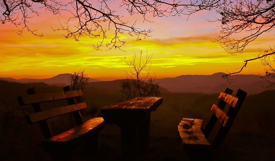 resting place, picnic, sunset