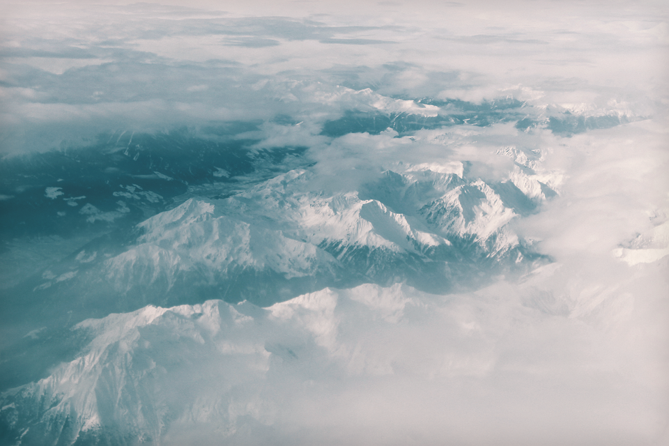 mountains, view, aerial view