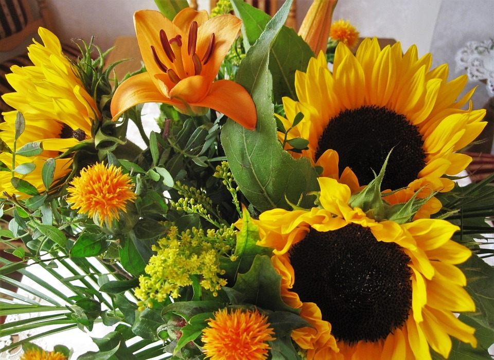 autumn bouquet, autumn flowers, sunflower