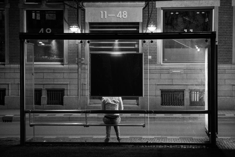 bus stop, waiting, public transport
