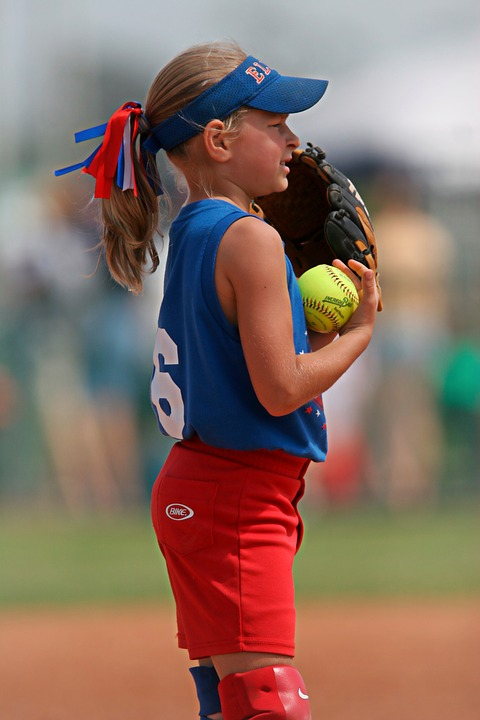 softball, player, girl