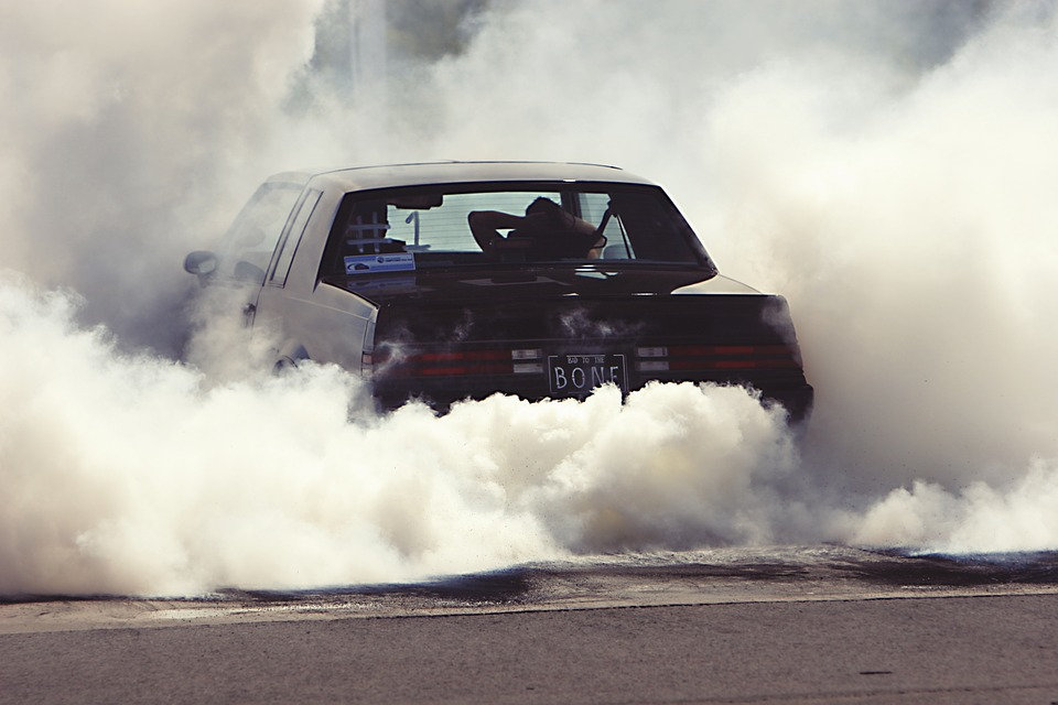 wheely, smoke, car