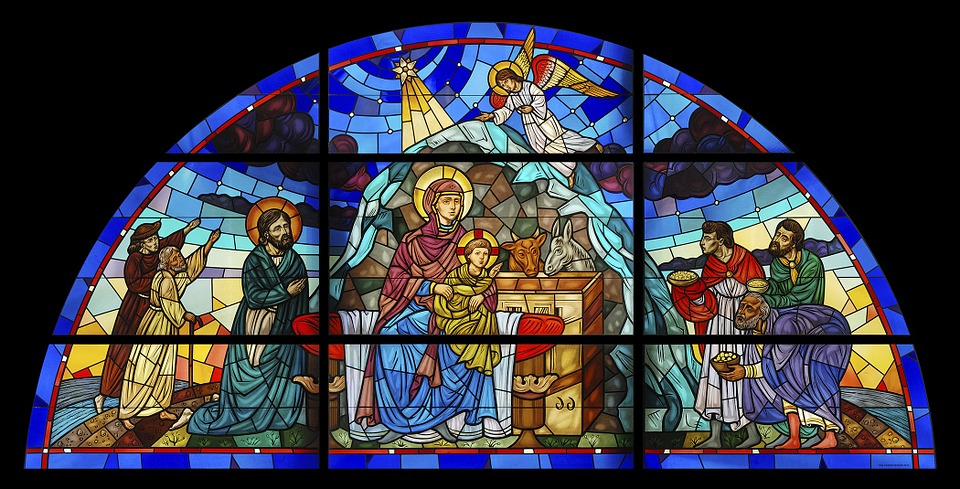 stained glass, catholic, christ