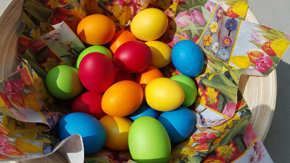 easter eggs, easter, colorful