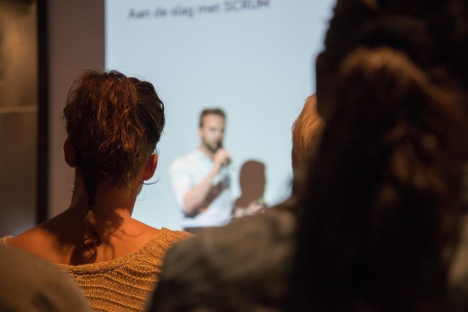 speaking, presentation, man