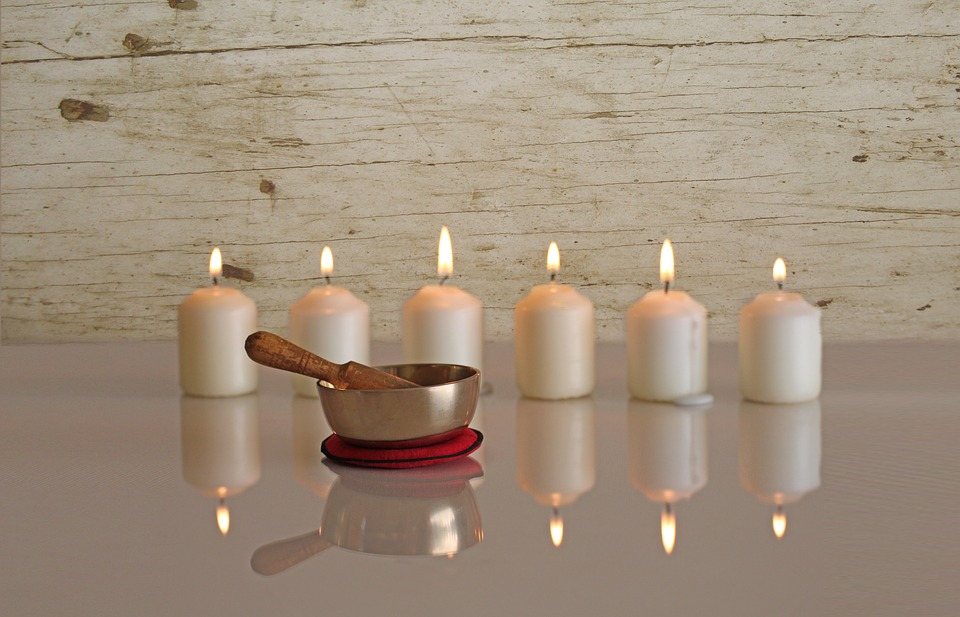 new age, singing bowl, candles