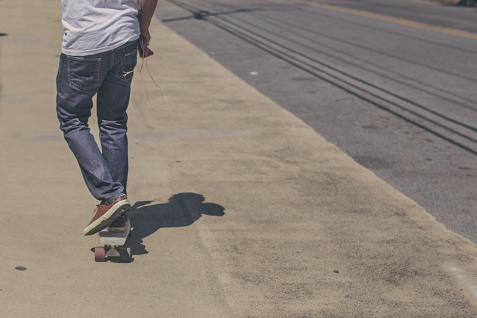 skateboarder, skateboard, street