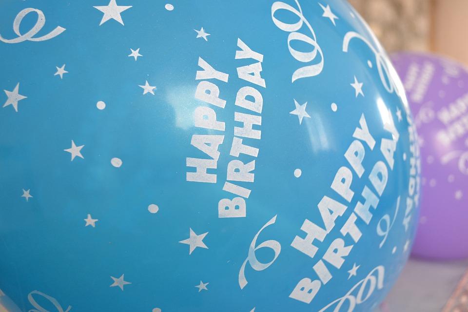 happy birthday, balloons, blue