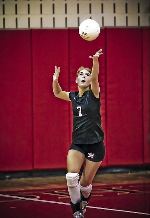 volleyball, serve, girl