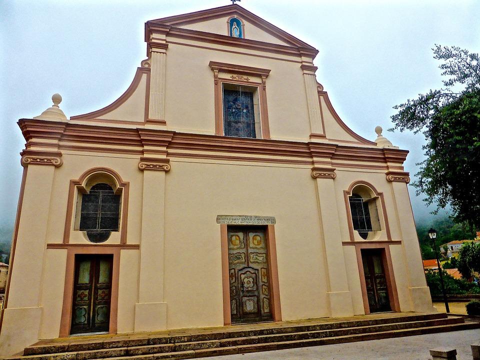 church, facade, corsica