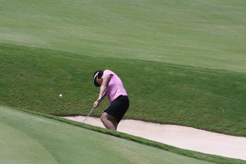 golf, bunker, woman