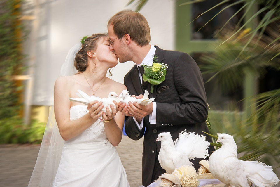 wedding kiss, kiss, love