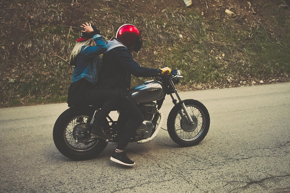 couple, driving, motorcycle