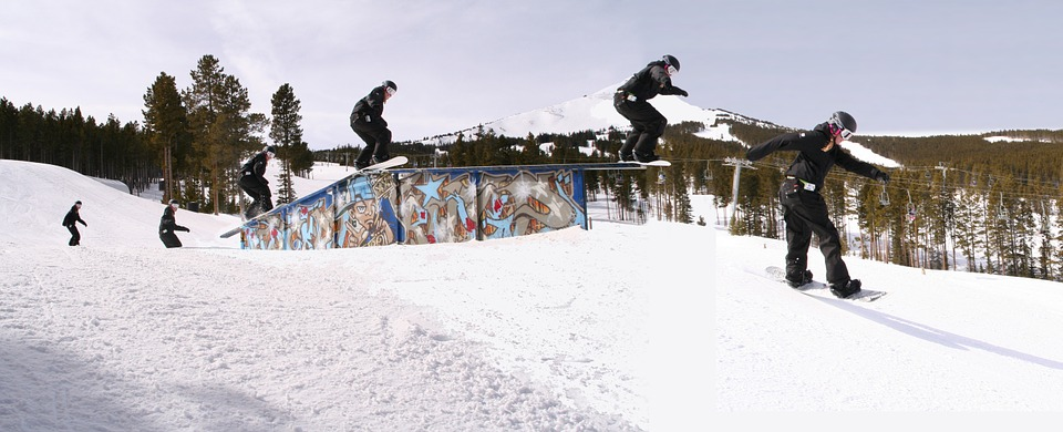 snowboarding, rail-slide, snowboarder