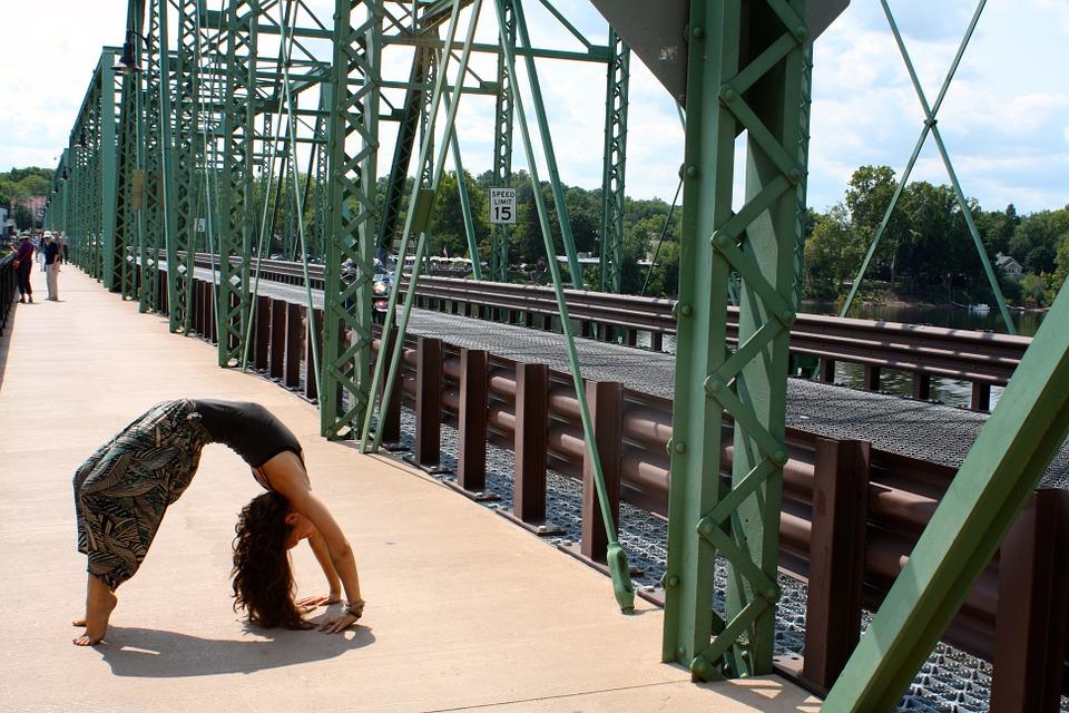 yoga, bridge, girl