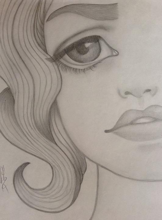 girl, sad, drawing