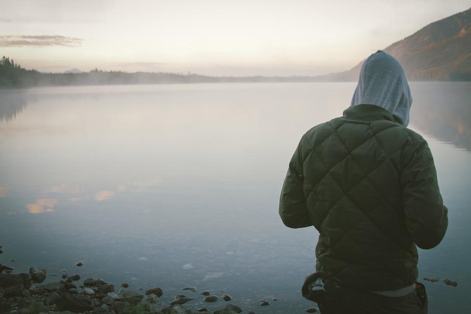 lake, water, guy