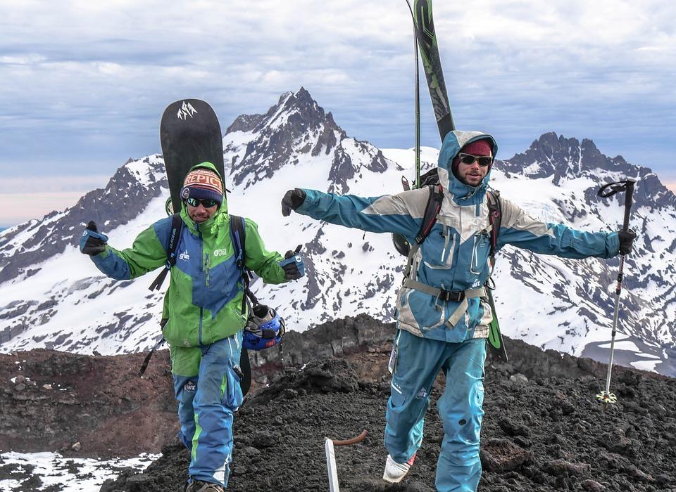 snowboarding, skiing, mountains