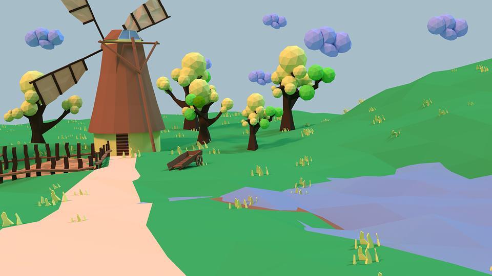 spring, windmill, landscape