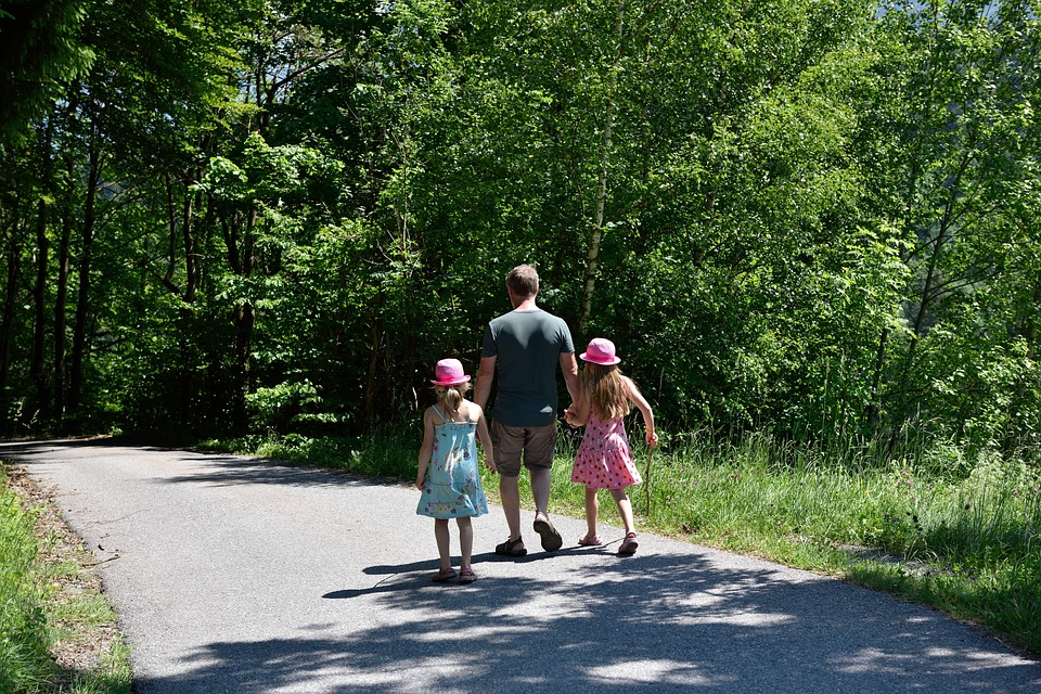 hiking, walk, family