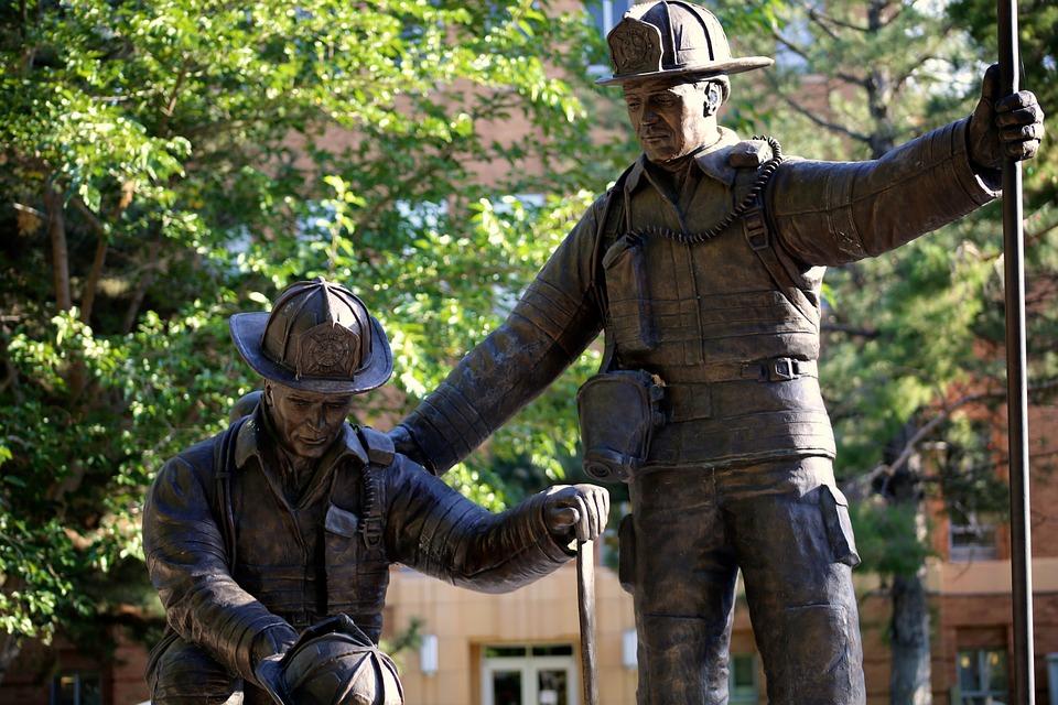 fireman, statue, rescue