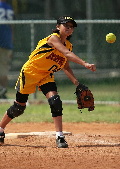 softball, throwing, girl