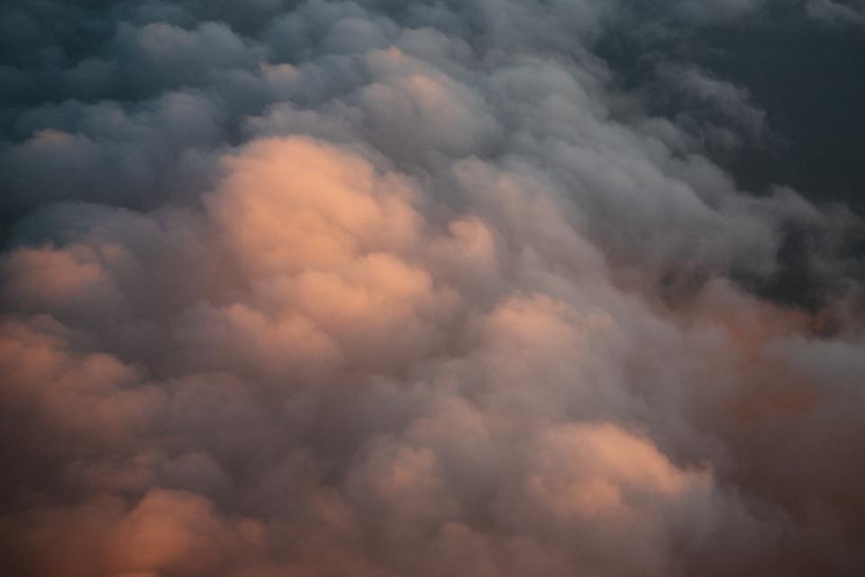 storm, clouds, sunset