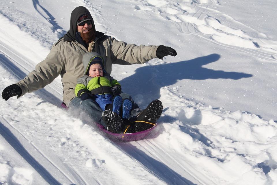 sledding, winter, father